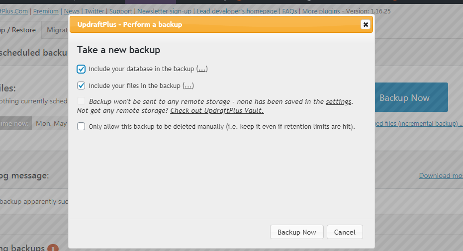 Click Backup Now for Backup of WordPress Website